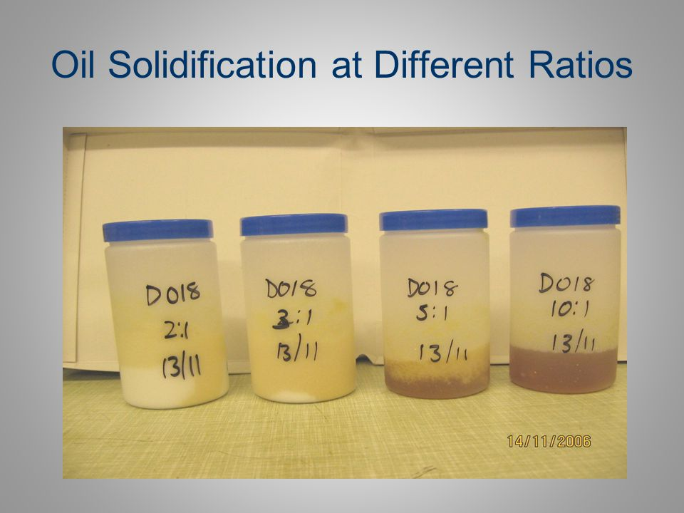 Oil Solidification at Different Ratios