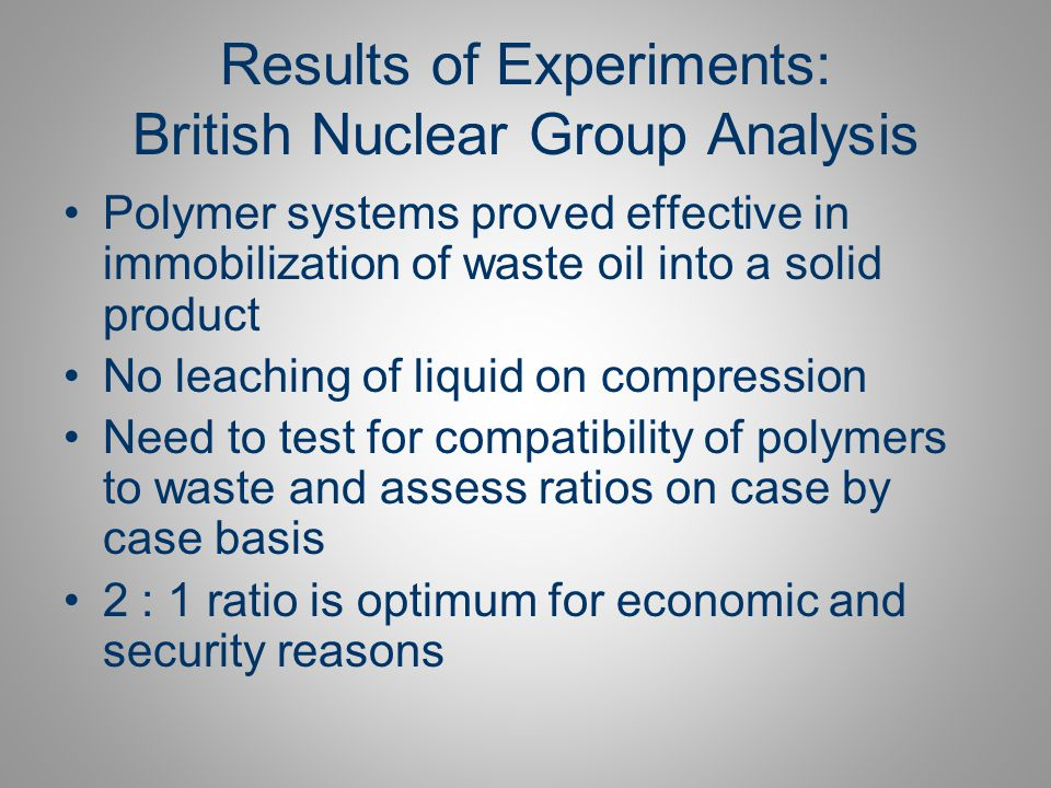 Results of Experiments: British Nuclear Group Analysis