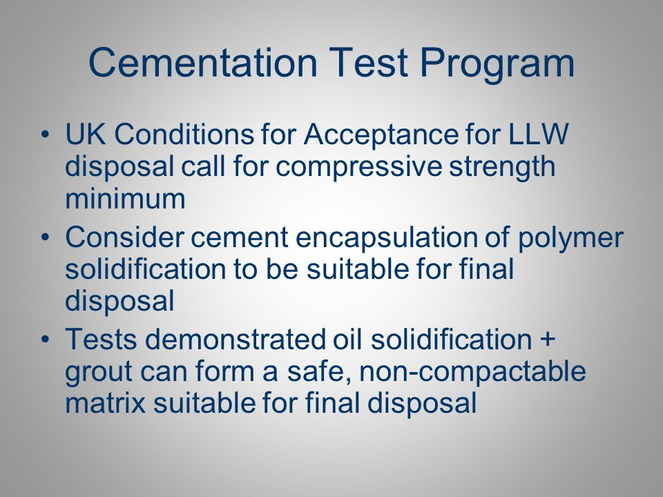 Cementation Test Program