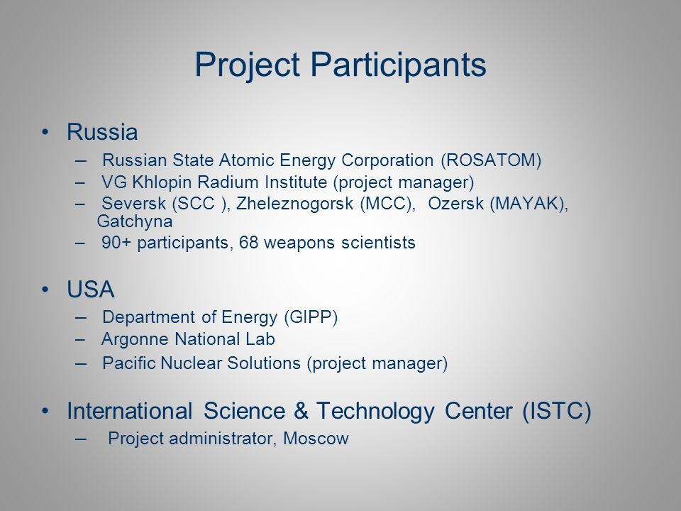 Project Participants Russia USA