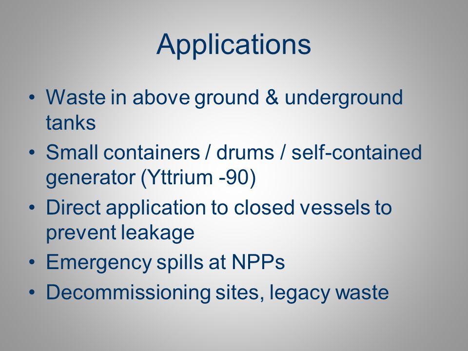 Applications Waste in above ground & underground tanks