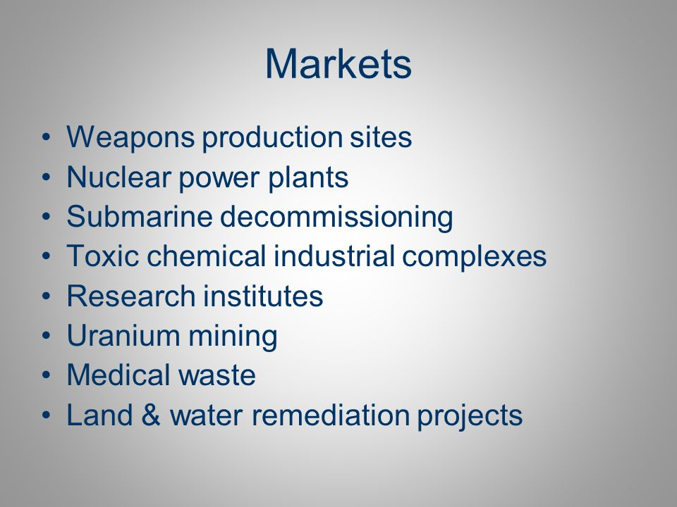 Markets Weapons production sites Nuclear power plants