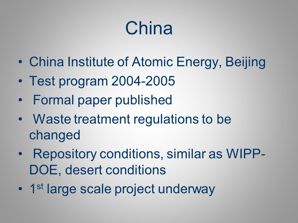 China China Institute of Atomic Energy, Beijing Test program 2004-2005