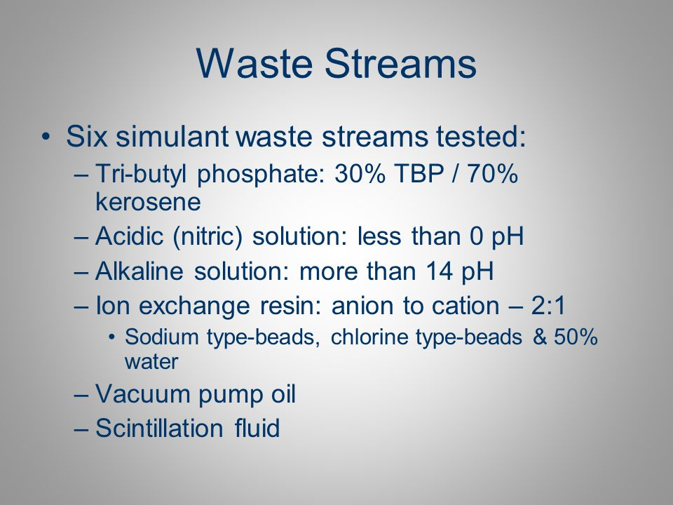 Waste Streams Six simulant waste streams tested: