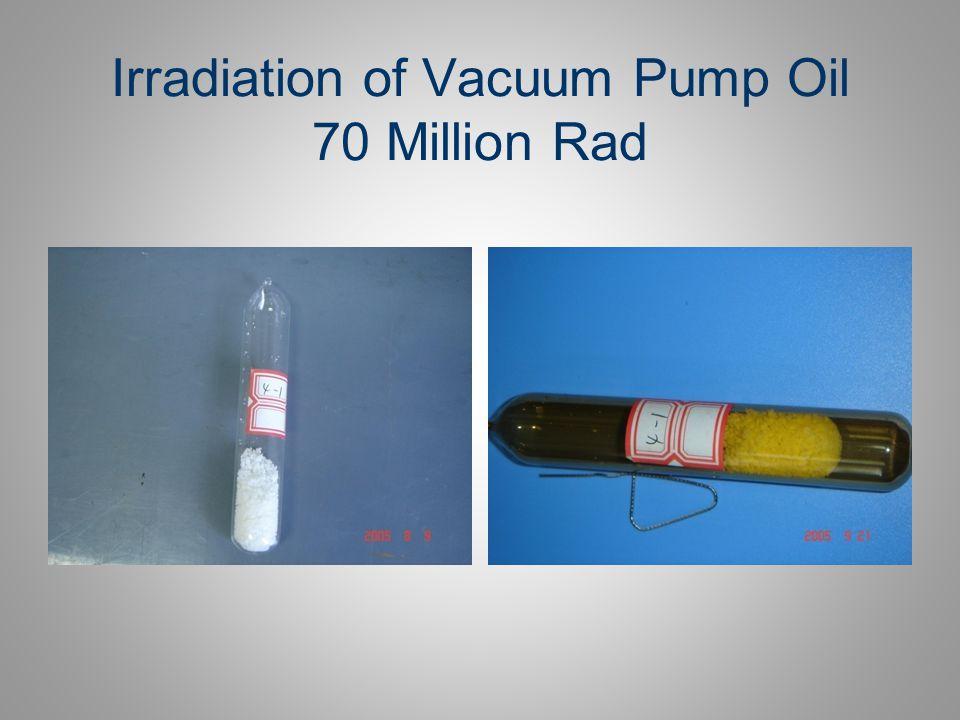 Irradiation of Vacuum Pump Oil 70 Million Rad