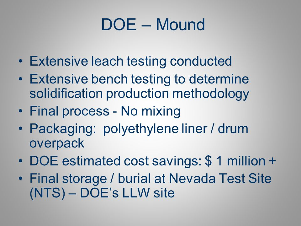 DOE – Mound Extensive leach testing conducted