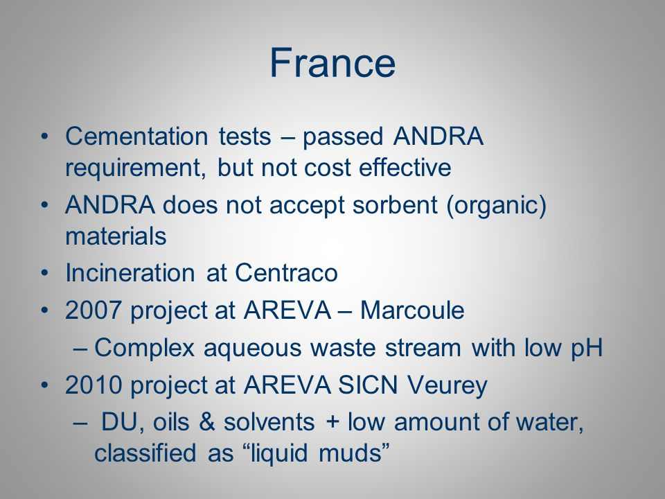 France Cementation tests – passed ANDRA requirement, but not cost effective. ANDRA does not accept sorbent (organic) materials.