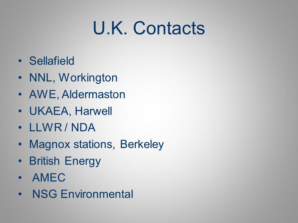 U.K. Contacts Sellafield NNL, Workington AWE, Aldermaston