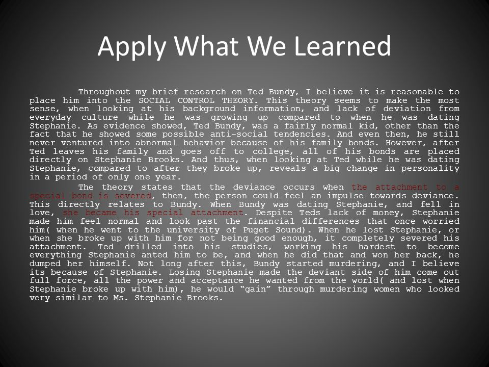 Apply What We Learned