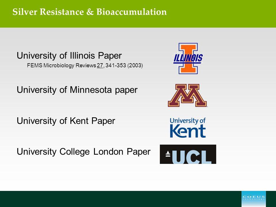 Silver Resistance & Bioaccumulation