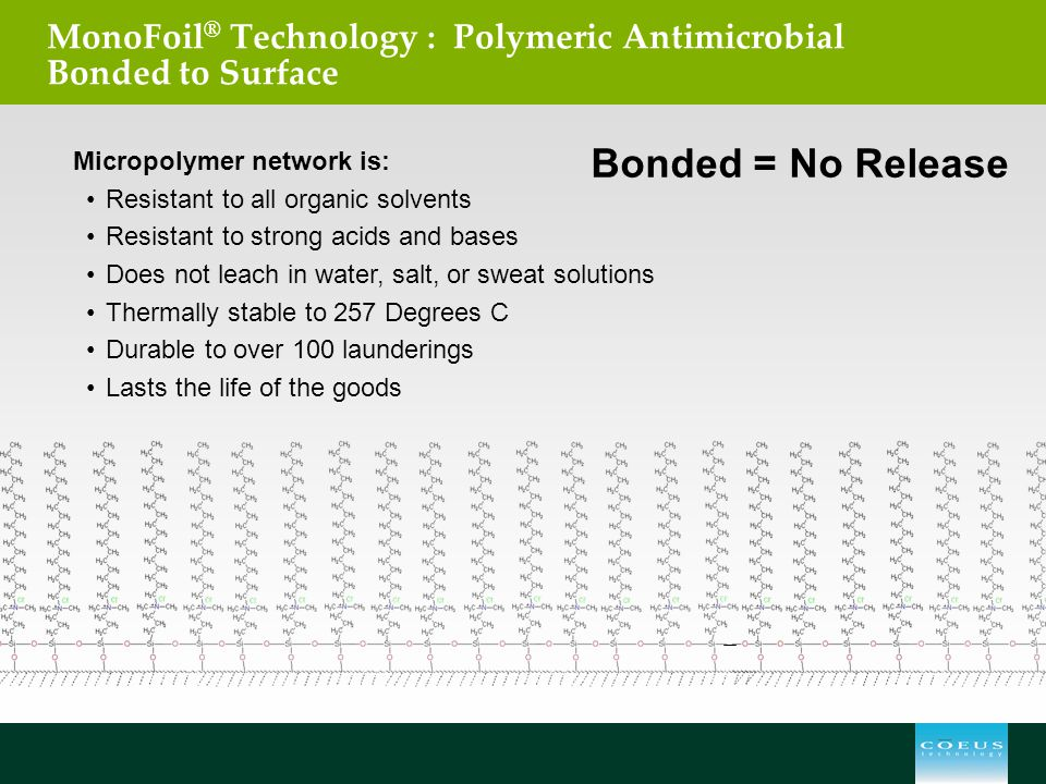 MonoFoil® Technology : Polymeric Antimicrobial Bonded to Surface