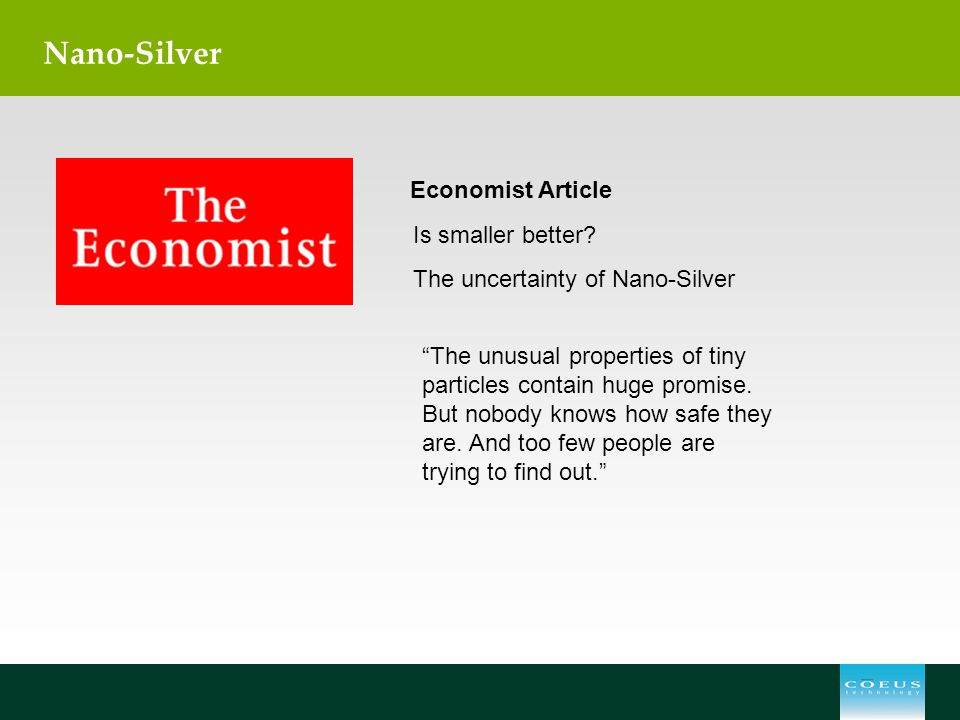 Nano-Silver Economist Article Is smaller better