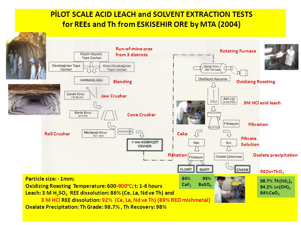 PİLOT SCALE ACID LEACH and SOLVENT EXTRACTION TESTS for REEs and Th from ESKISEHIR ORE by MTA (2004)
