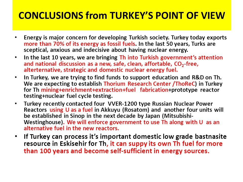 CONCLUSIONS from TURKEY'S POINT OF VIEW
