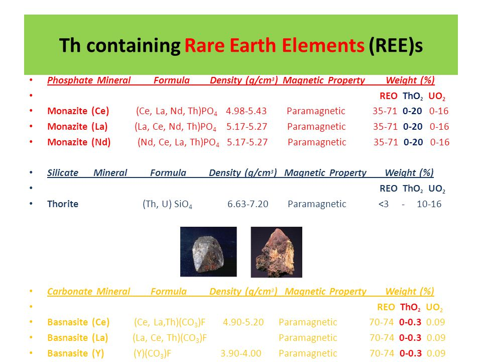 Th containing Rare Earth Elements (REE)s