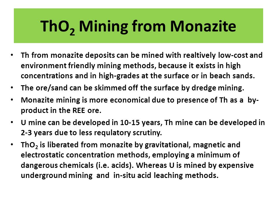 ThO2 Mining from Monazite