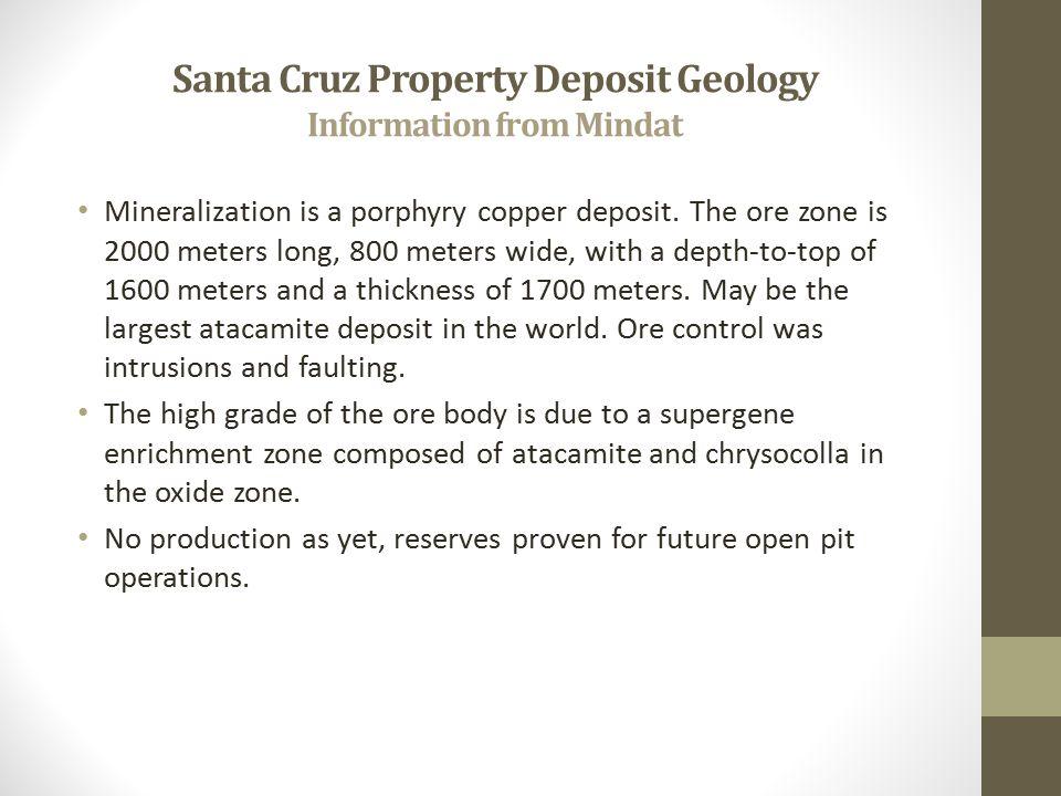 Santa Cruz Property Deposit Geology Information from Mindat