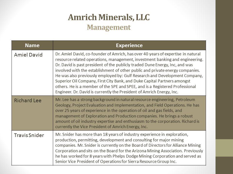 Amrich Minerals, LLC Management