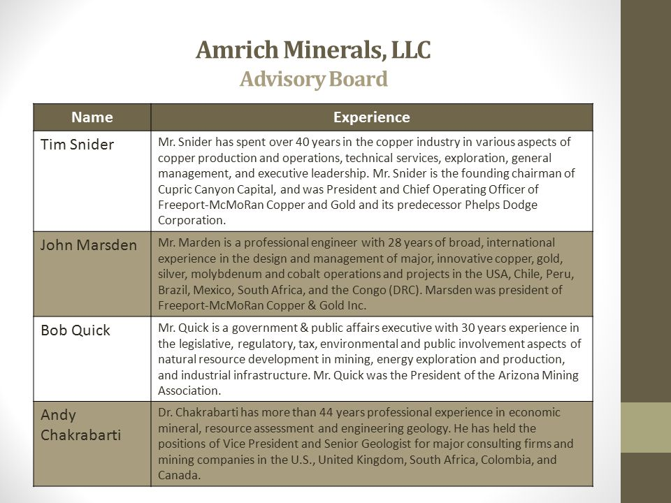 Amrich Minerals, LLC Advisory Board