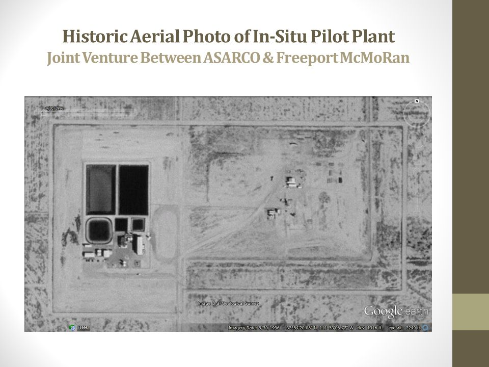 Historic Aerial Photo of In-Situ Pilot Plant Joint Venture Between ASARCO & Freeport McMoRan