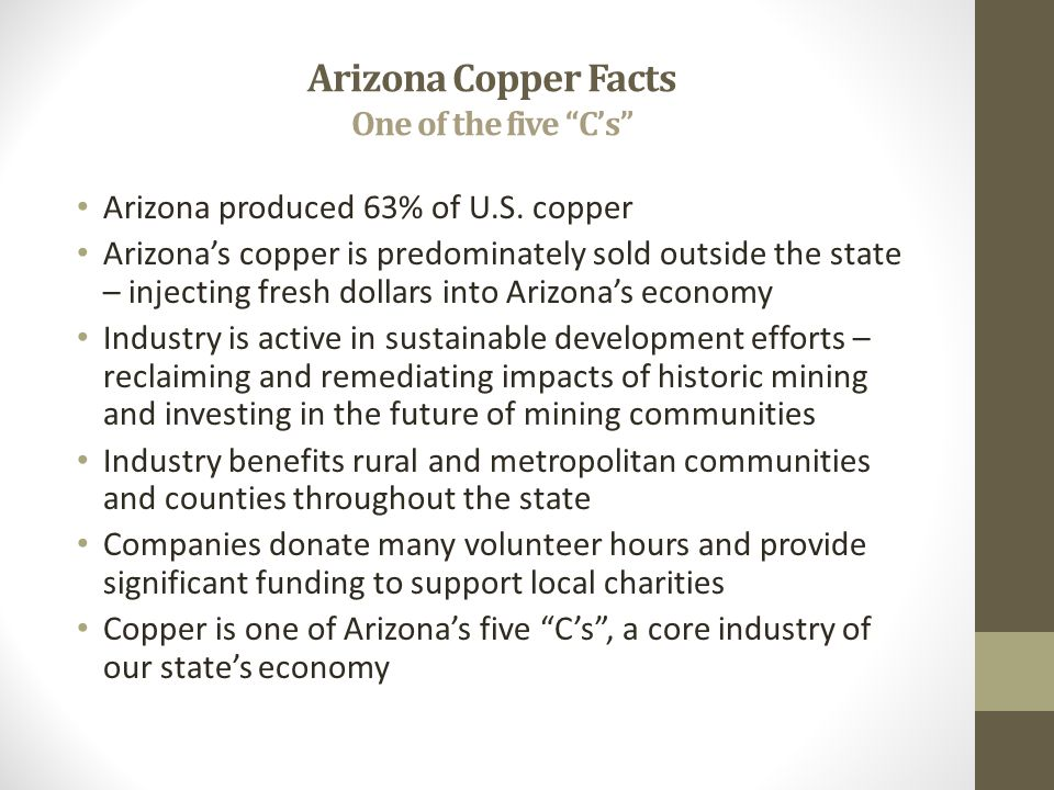 Arizona Copper Facts One of the five C's