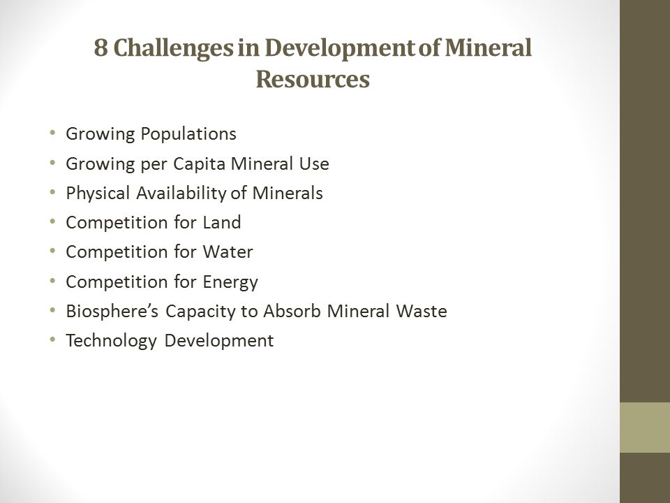 8 Challenges in Development of Mineral Resources