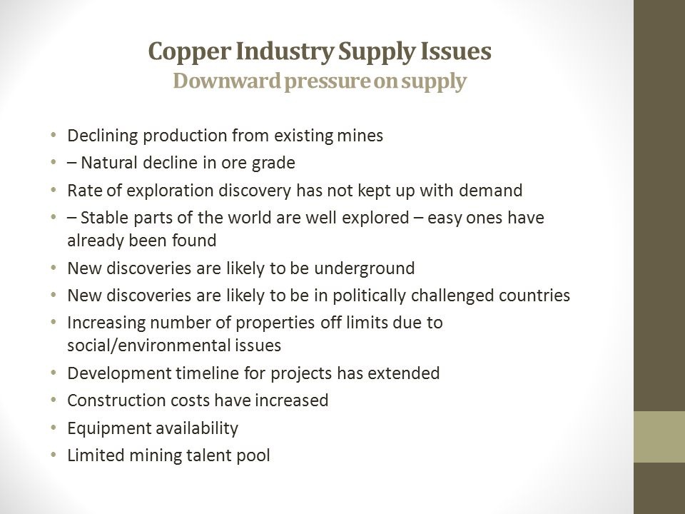 Copper Industry Supply Issues Downward pressure on supply