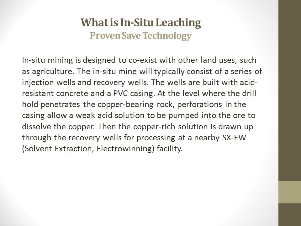 What is In-Situ Leaching Proven Save Technology