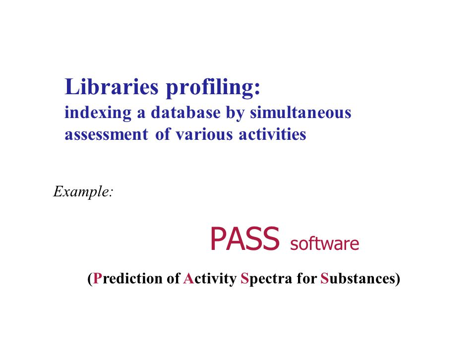 Libraries profiling: indexing a database by simultaneous assessment of various activities