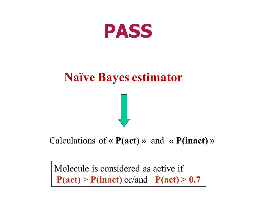 PASS Naïve Bayes estimator Calculations of « P(act) » and « P(inact) »