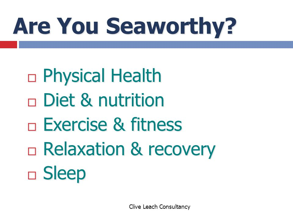 Are You Seaworthy Physical Health Diet & nutrition Exercise & fitness