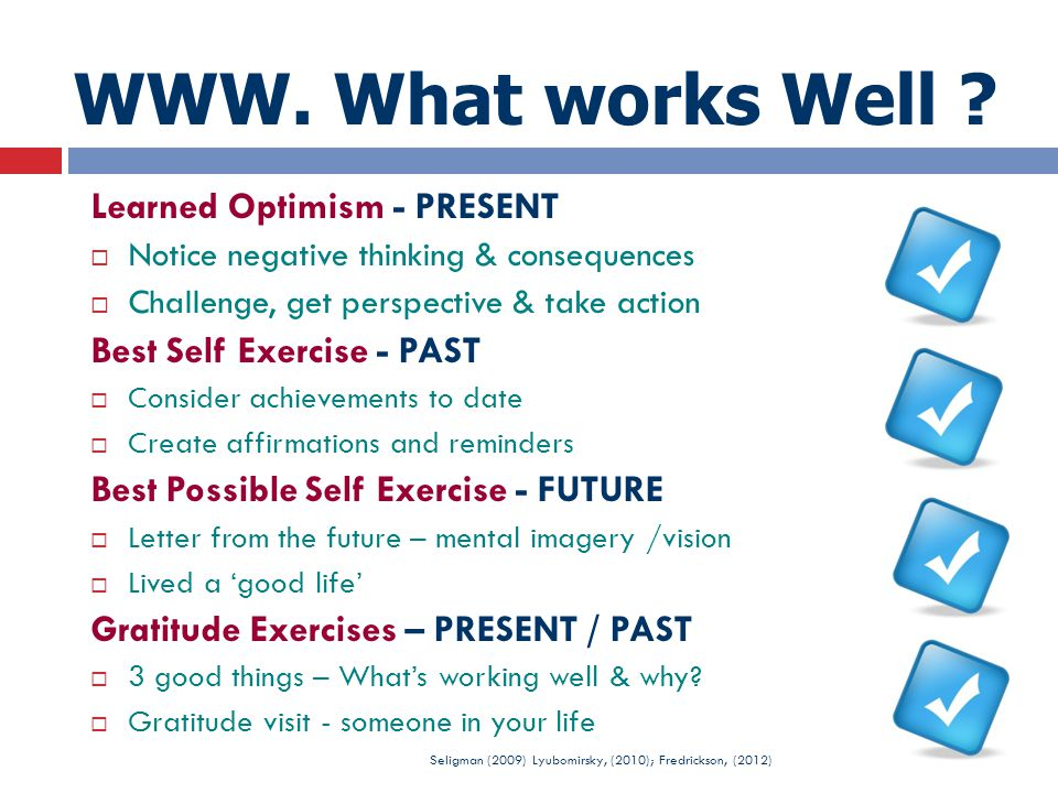 WWW. What works Well Learned Optimism - PRESENT