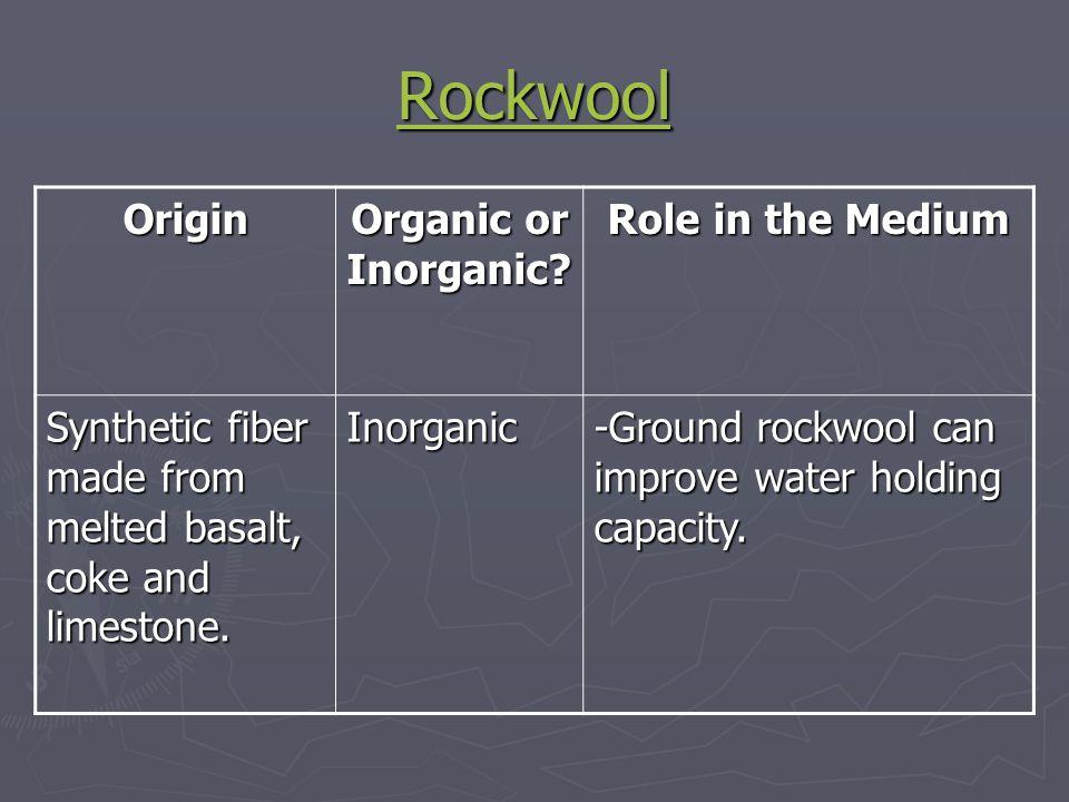 Rockwool Origin Organic or Inorganic Role in the Medium