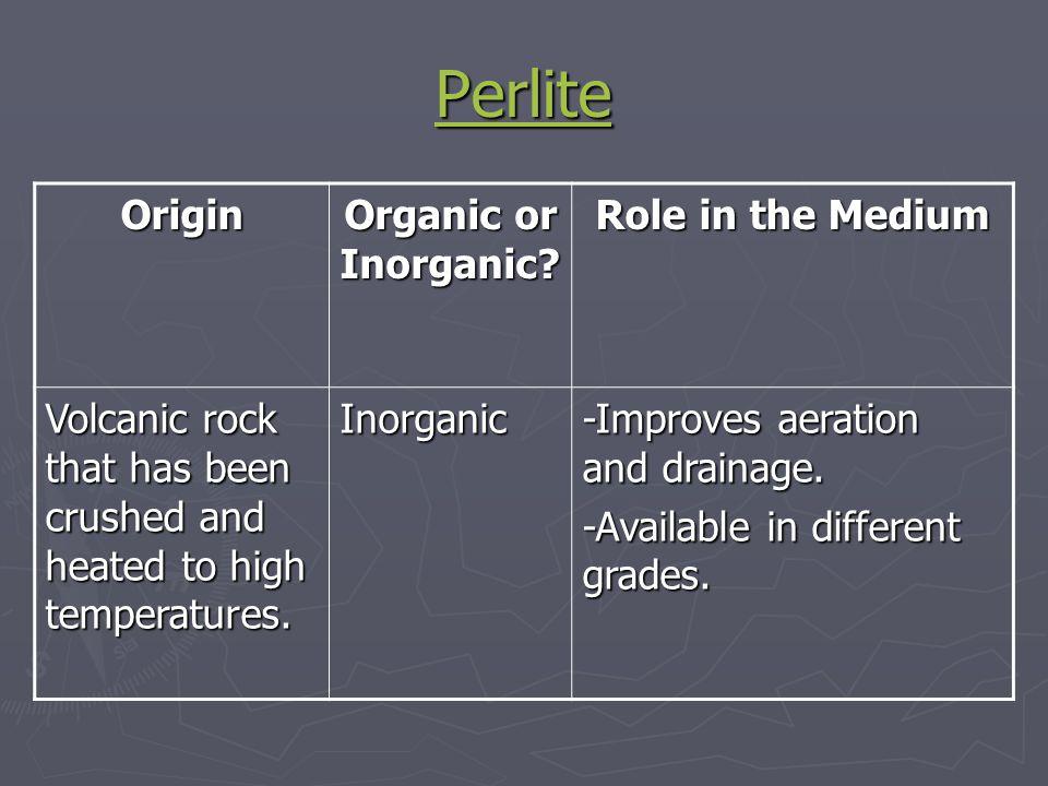 Perlite Origin Organic or Inorganic Role in the Medium