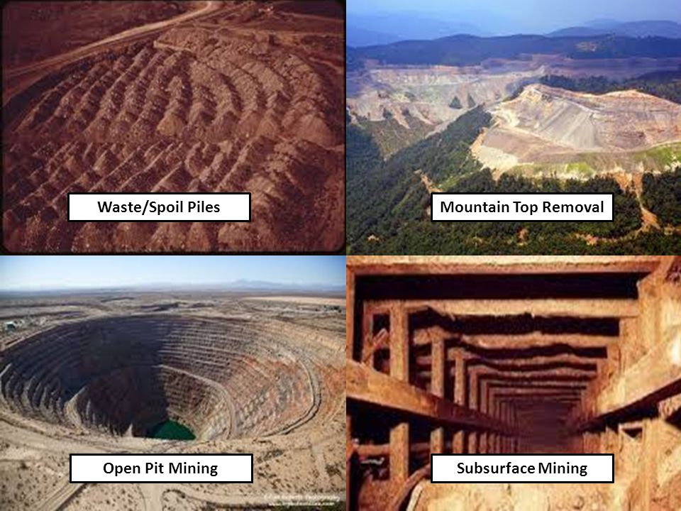 Waste/Spoil Piles Mountain Top Removal Open Pit Mining Subsurface Mining