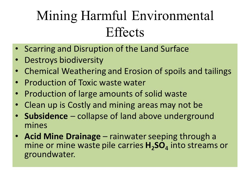 Mining Harmful Environmental Effects