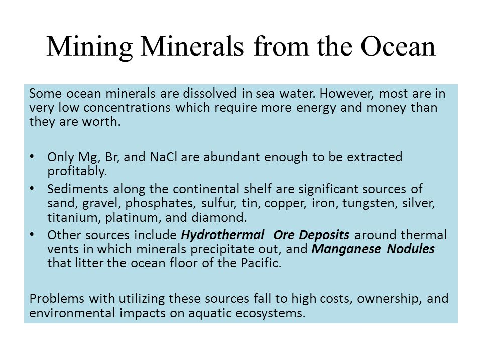 Mining Minerals from the Ocean
