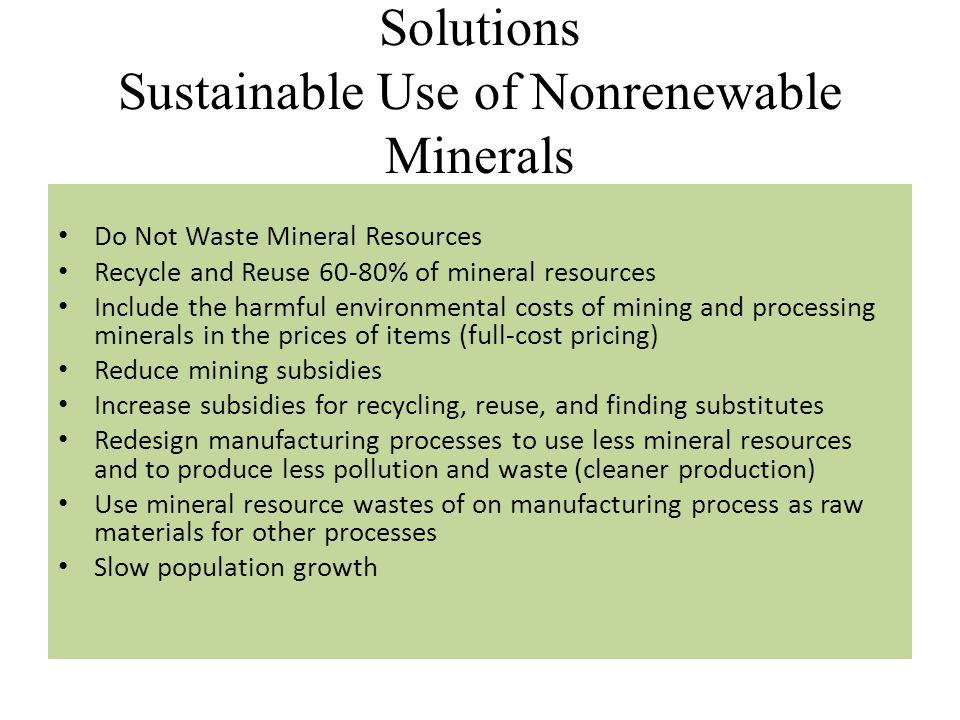 Solutions Sustainable Use of Nonrenewable Minerals
