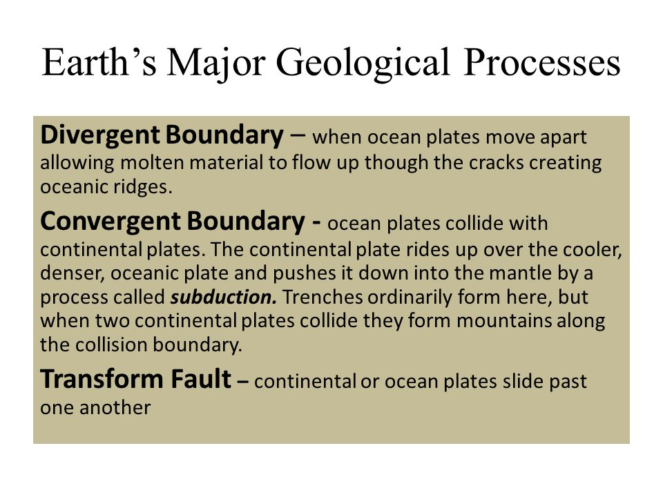 Earth's Major Geological Processes