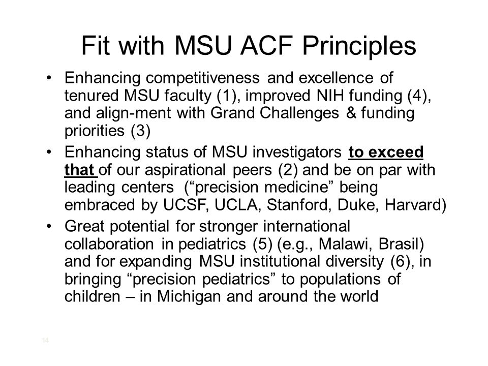 Fit with MSU ACF Principles