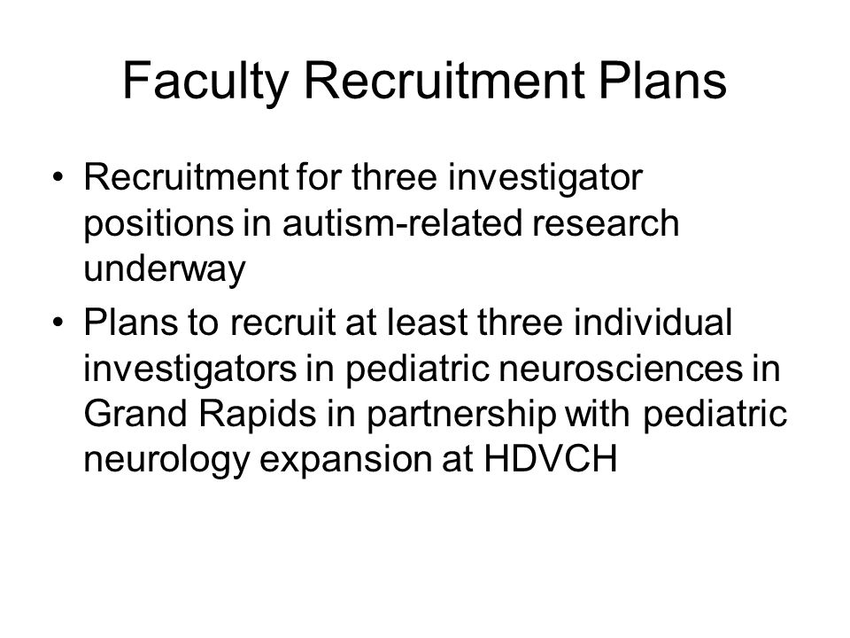 Faculty Recruitment Plans
