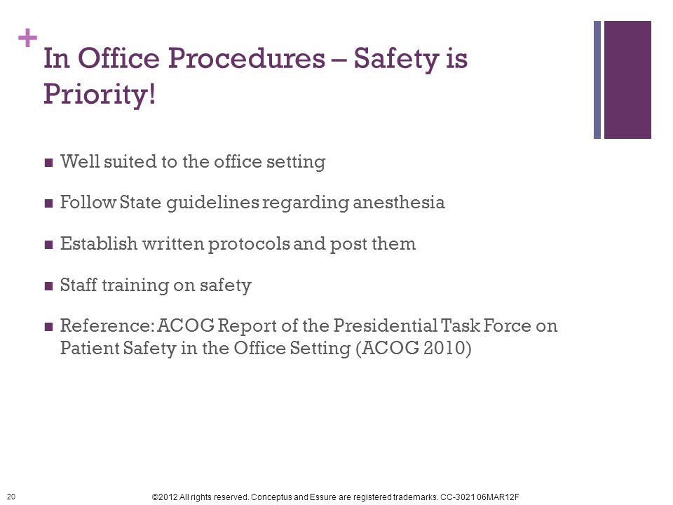 In Office Procedures – Safety is Priority!