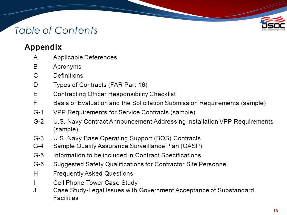 Table of Contents Appendix A Applicable References B Acronyms