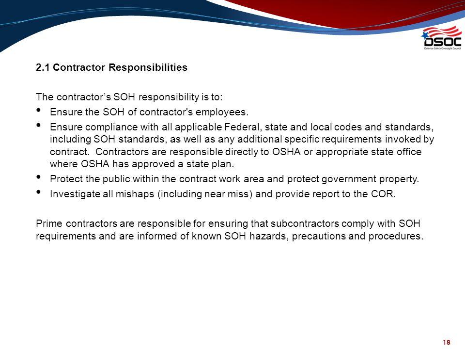 2.1 Contractor Responsibilities
