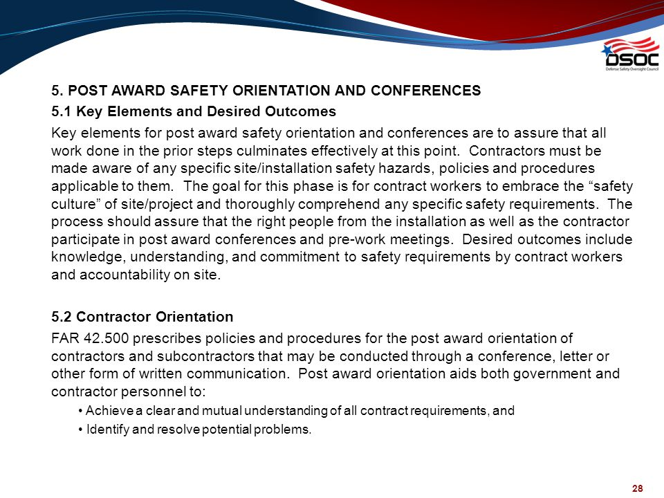 5. POST AWARD SAFETY ORIENTATION AND CONFERENCES