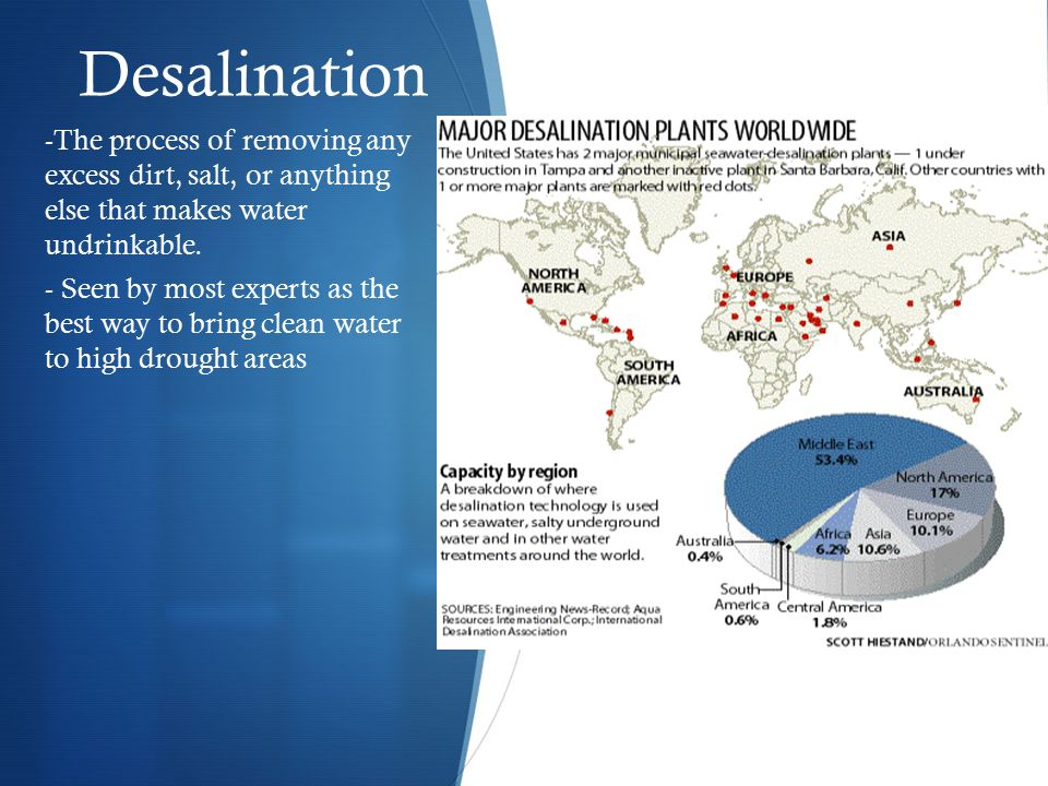 Desalination -The process of removing any excess dirt, salt, or anything else that makes water undrinkable.