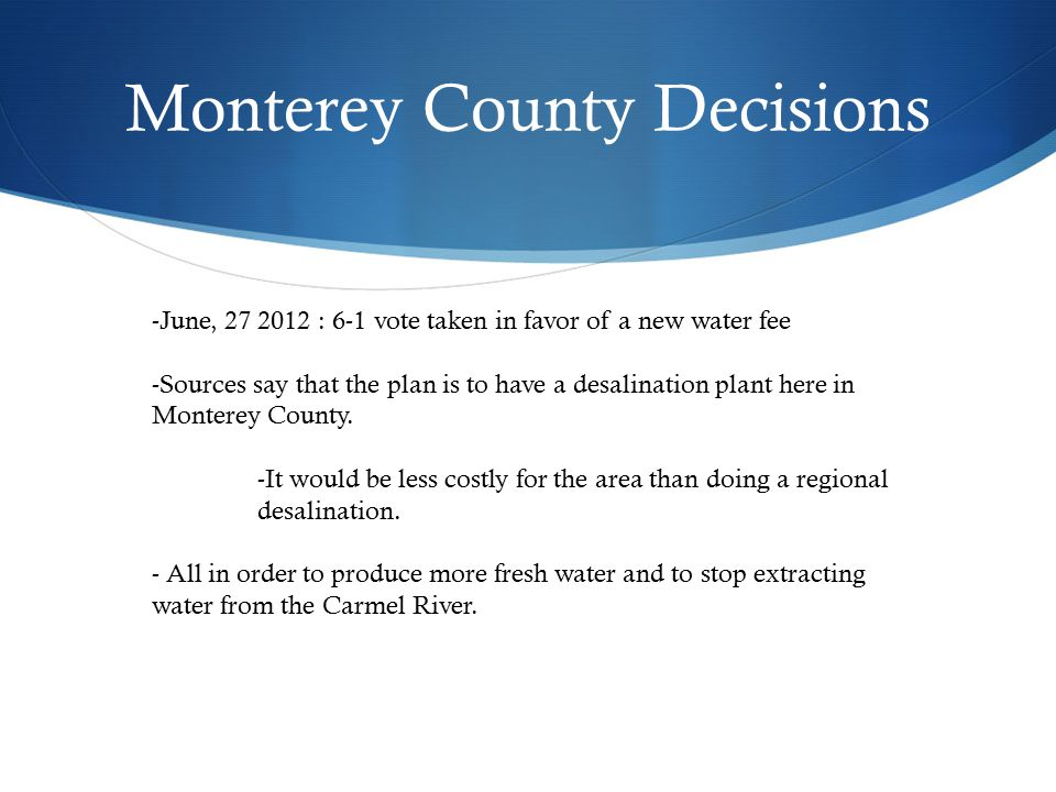 Monterey County Decisions