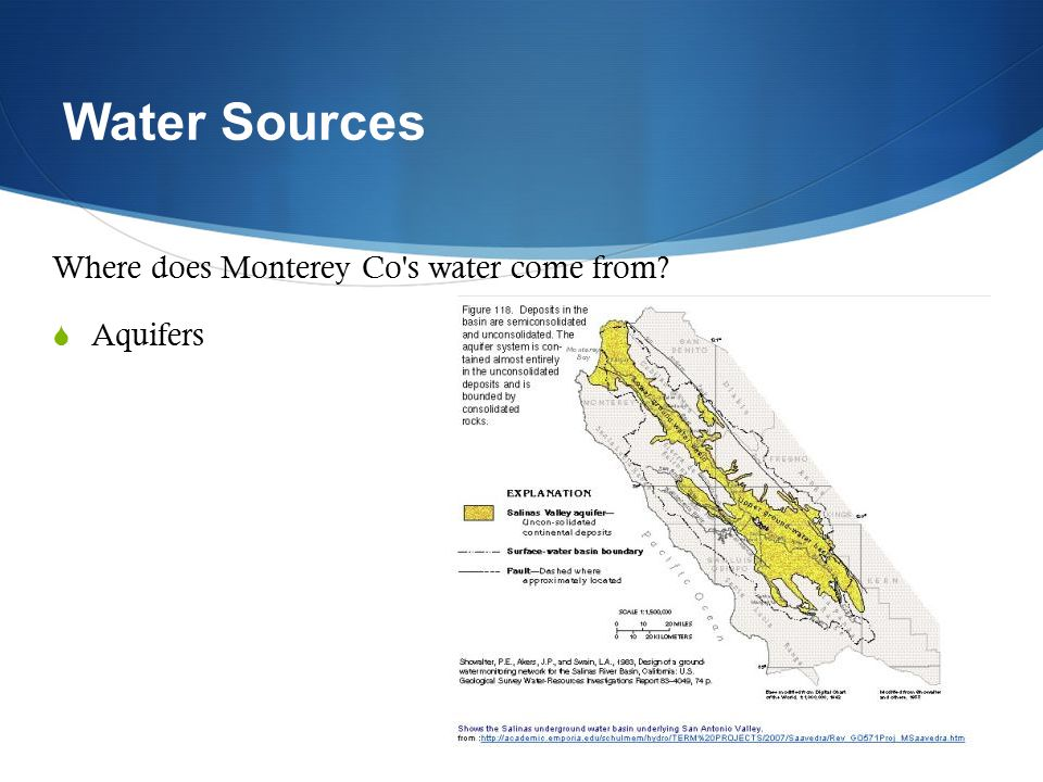 Water Sources Where does Monterey Co s water come from Aquifers
