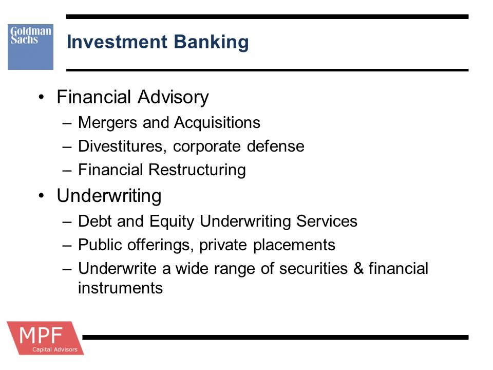 Investment Banking Financial Advisory Underwriting