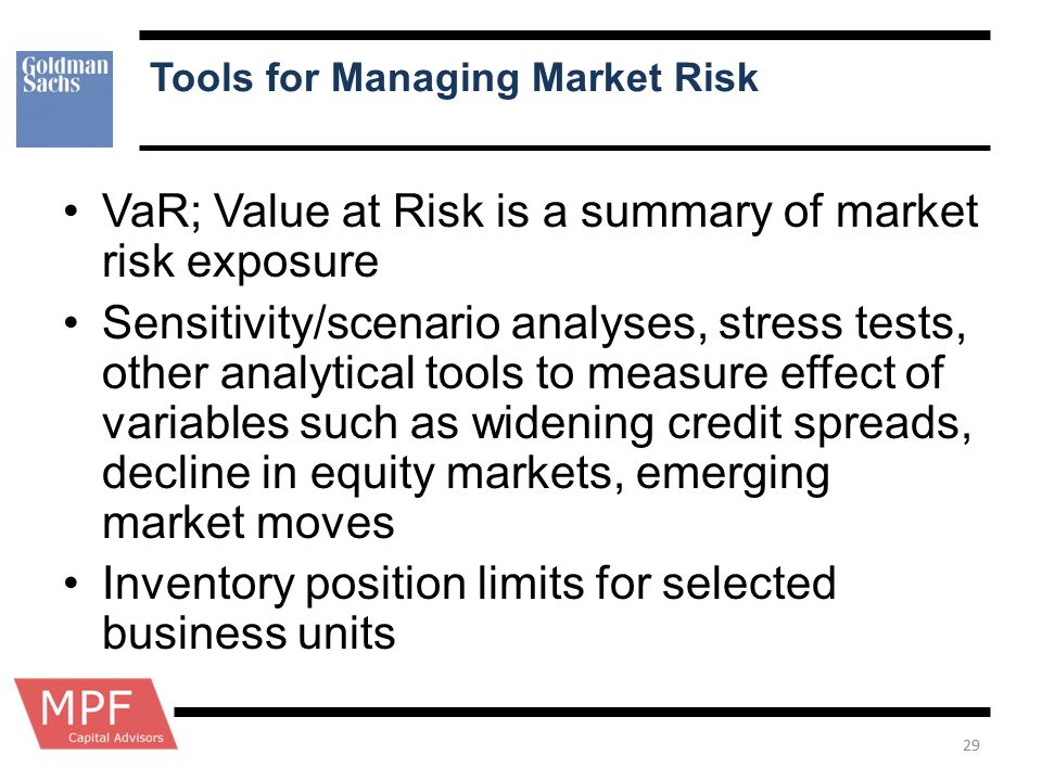 Tools for Managing Market Risk
